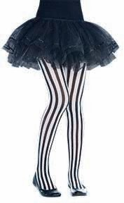 Vertical Striped Tights Black and White