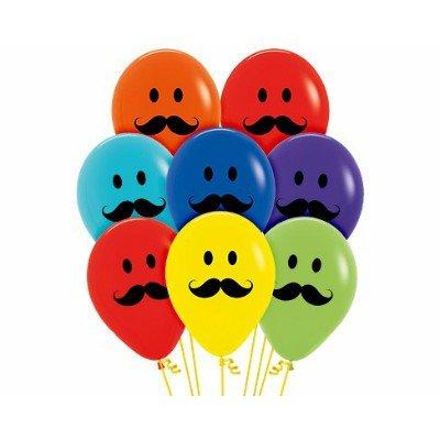 Sempertex 30cm Smiley Moustache Faces Fashion Assorted Latex Balloons, 12PK