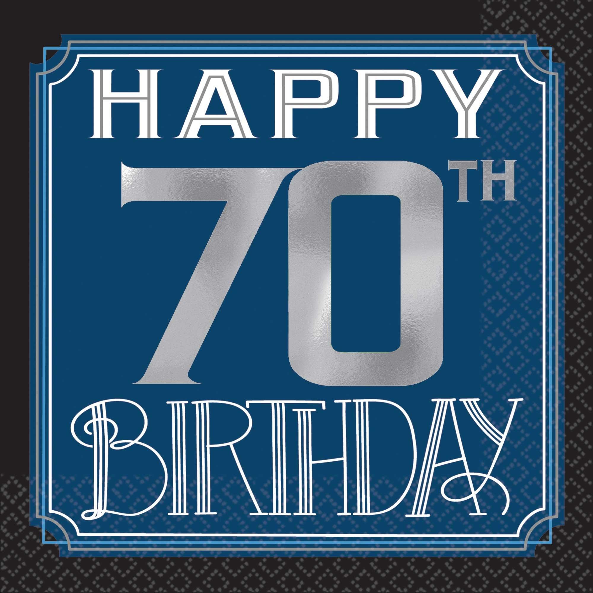 Happy 70th Birthday Man Beverage Napkins Hot Foil Stamped